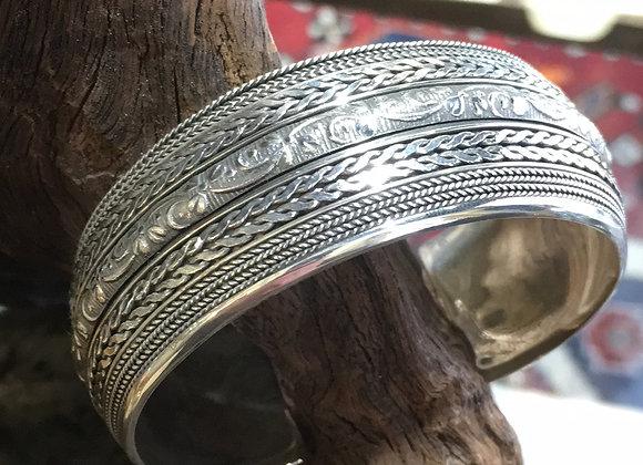 Scroll work silver cuff