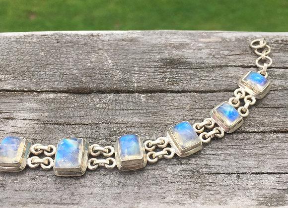 Rainbow moonstone multi stone bracelet