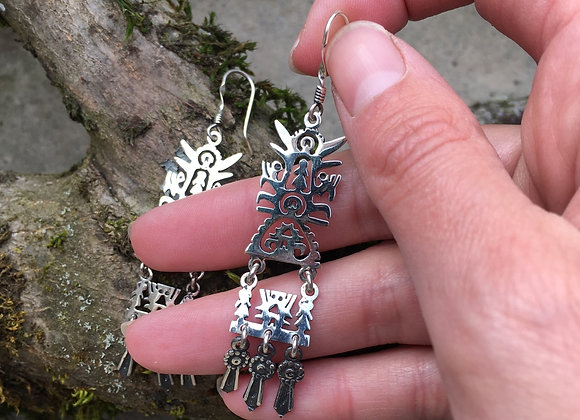 Huichol inspired balance of life earrings