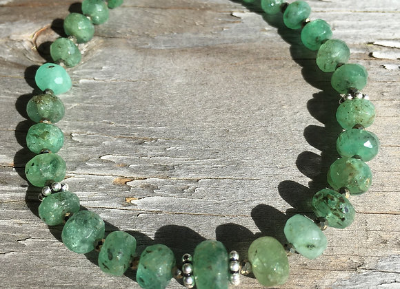 Chunky graduated emerald and pyrite bracelet