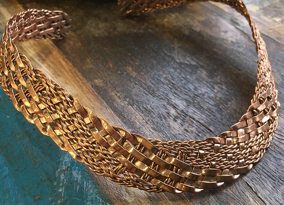 Woven copper choker
