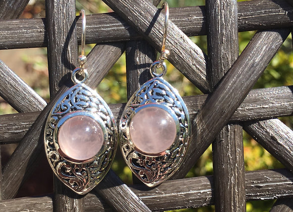 Marquis shaped rose quartz earrings
