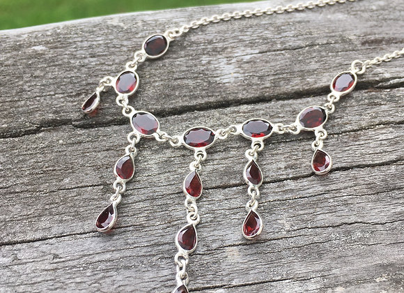 Garnet multi stone necklace