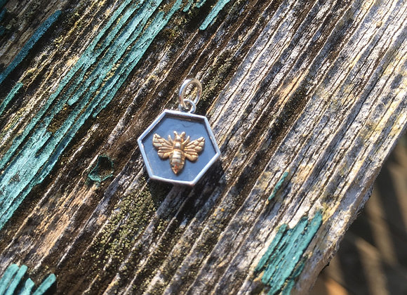 Honeycomb silver and bronze bee