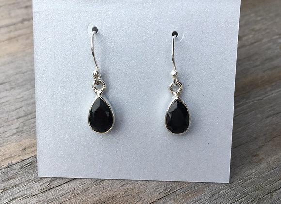 Black onyx small teardrop earrings