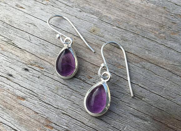 Teardrop cabochon amethyst earrings