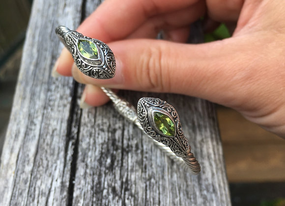 Peridot hinged cuff bracelet