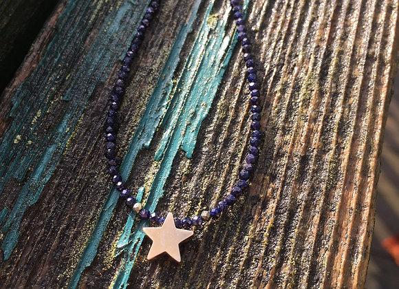 Blue goldstone star necklace