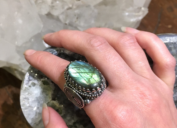 Mercurious Designs labradorite Valhalla ring
