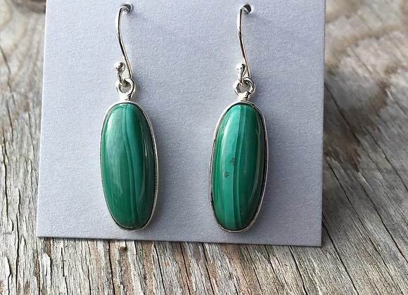 Long oval malachite earrings