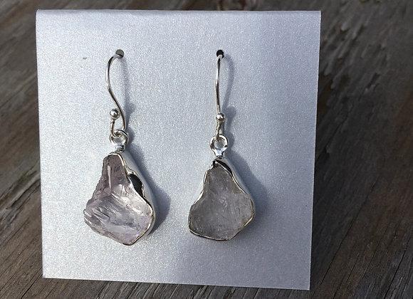Kunzite rough crystal earrings