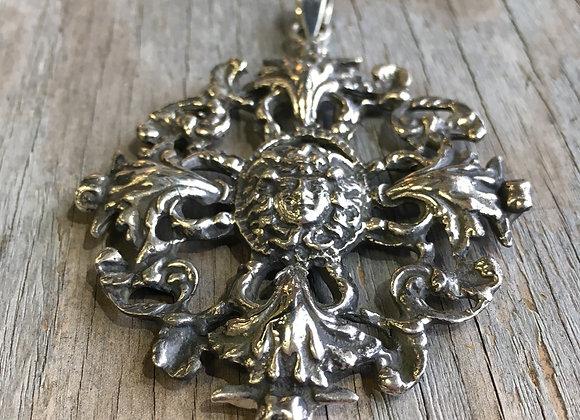 Art Nouveau style heavy silver pendant