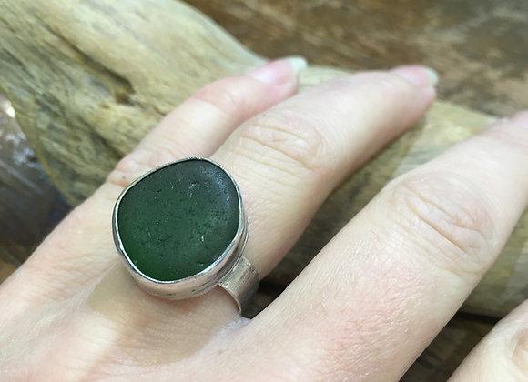 Waters Edge Silver dark green sea glass ring