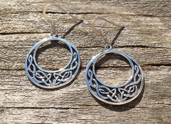 Medium crescent circle Celtic knot earrings
