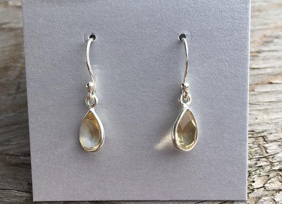 Simple teardrop citrine earrings
