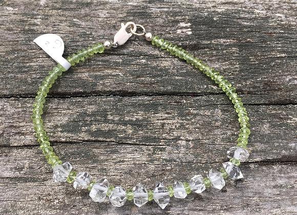 Peridot and Herkimer diamond bracelet