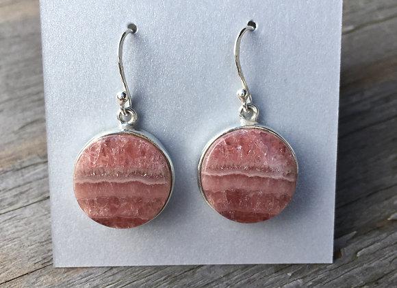 Round rhodochrosite earrings