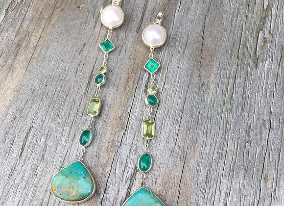 Long multi stone dangling earrings