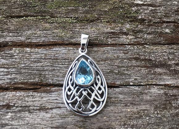 Teardrop blue topaz Celtic knot pendant