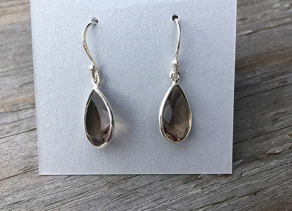 Teardrop Smoky quartz earrings