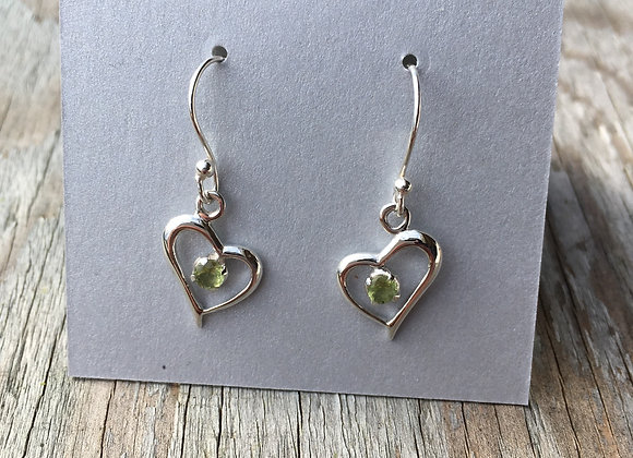 Peridot heart earrings