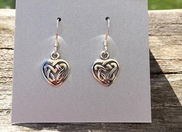 Flat Celtic knot heart earrings