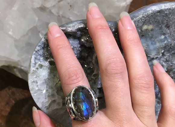 Mercurious Designs faceted labradorite ohm ring