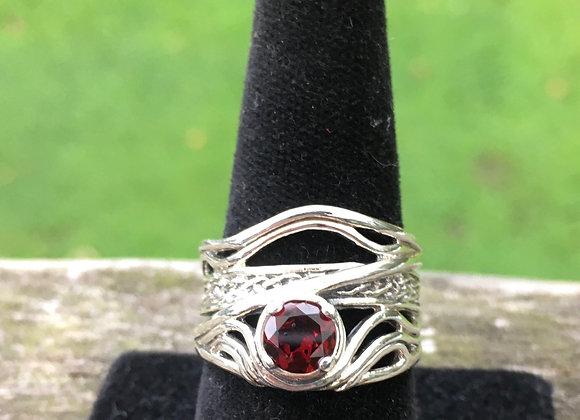Garnet wide wave band ring