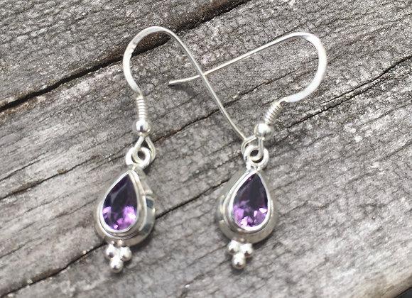 Small teardrop amethyst earrings