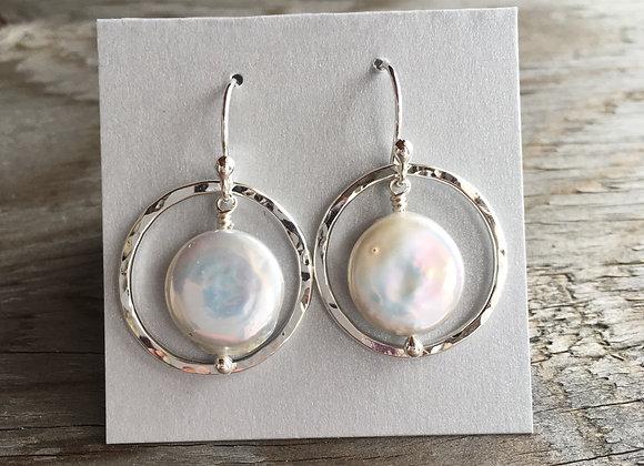 Mikel Grant coin pearl earrings