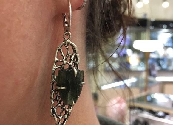 Large raw Moldavite earrings
