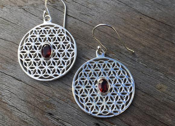 Garnet flower of life earrings