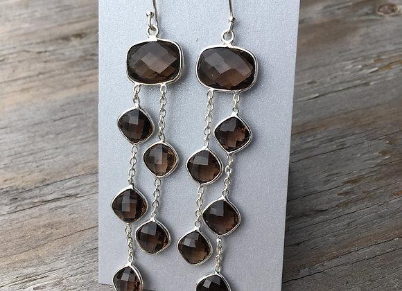 Smoky quartz long cascade earrings