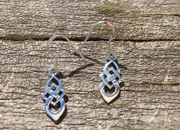 Small long drop Celtic knot earrings