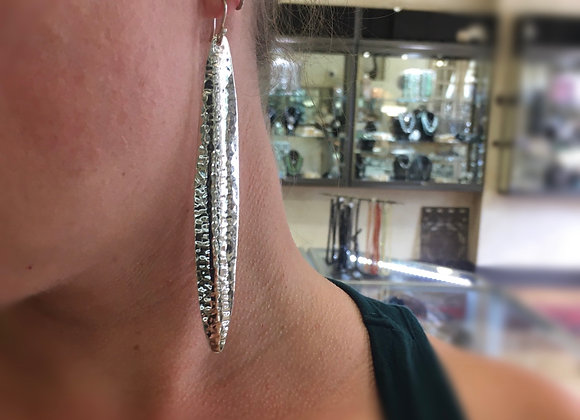 Extra long hammered convex earrings