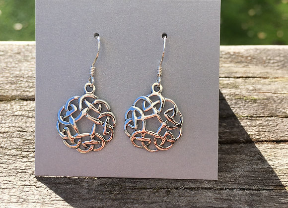 Round cutout Celtic knot earrings