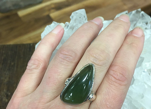 Large asymmetrical jade ring