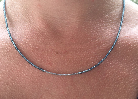 Apatite and labradorite halfmoon style necklace