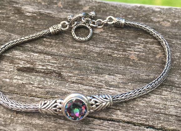 Single stone mystic topaz toggle bracelet