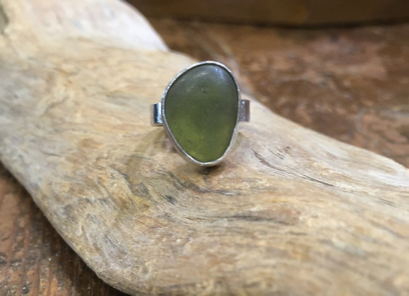 Waters Edge Silver light Yellow Sea glass ring