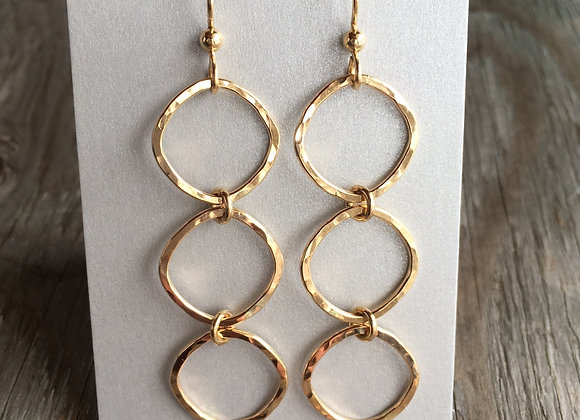 Mikel Grant soft square trio earrings gold fill