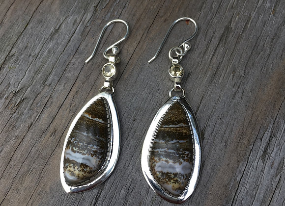 Agate and citrine earrings