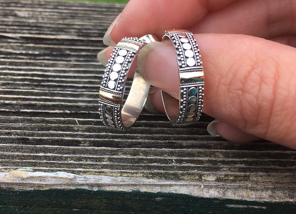 Silver and gold accents small hoops
