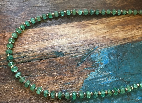 Emerald and pyrite necklace
