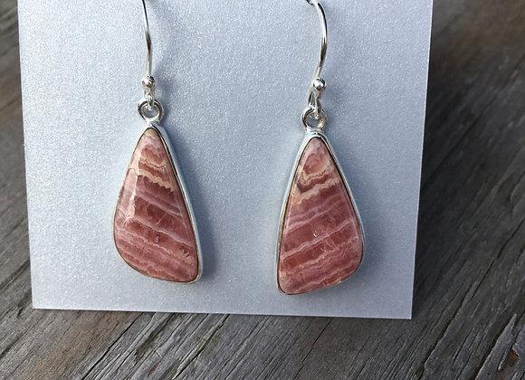 Rhodochrosite long triangle earrings