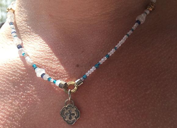 Rainbow moonstone charm necklace