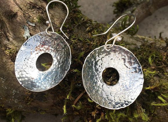 Large hammered cutout disc earrings