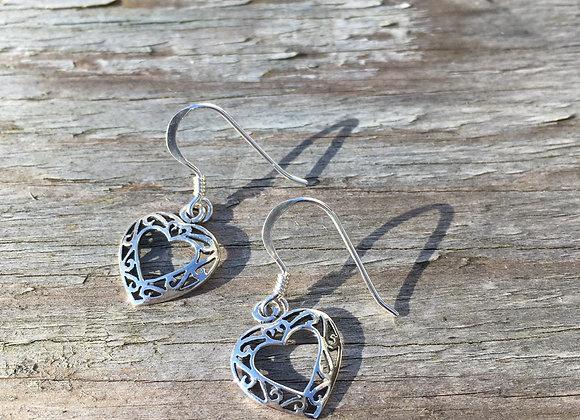 Celtic cutout centre heart earrings