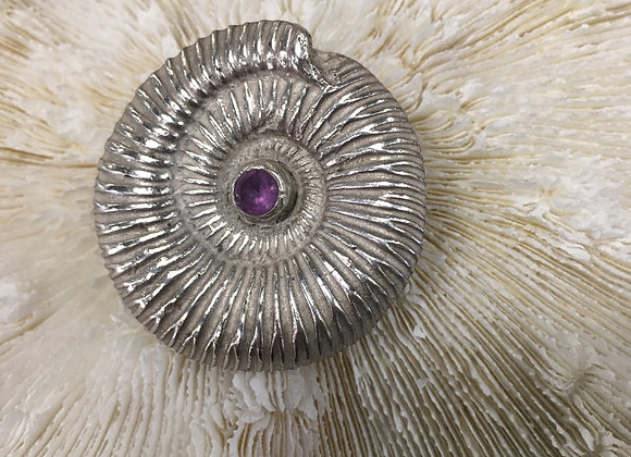 Waters Edge Silver amonite with amethyst