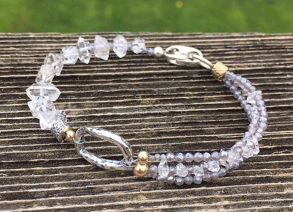 GenVie Herkimer diamond and coated labradorite